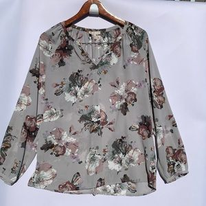 Lila Rose Long Sleeve Blouse Top Floral Sheer | L
